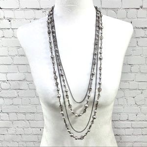 Gunmetal Silver, Crystal, and Pearl  Long Necklace